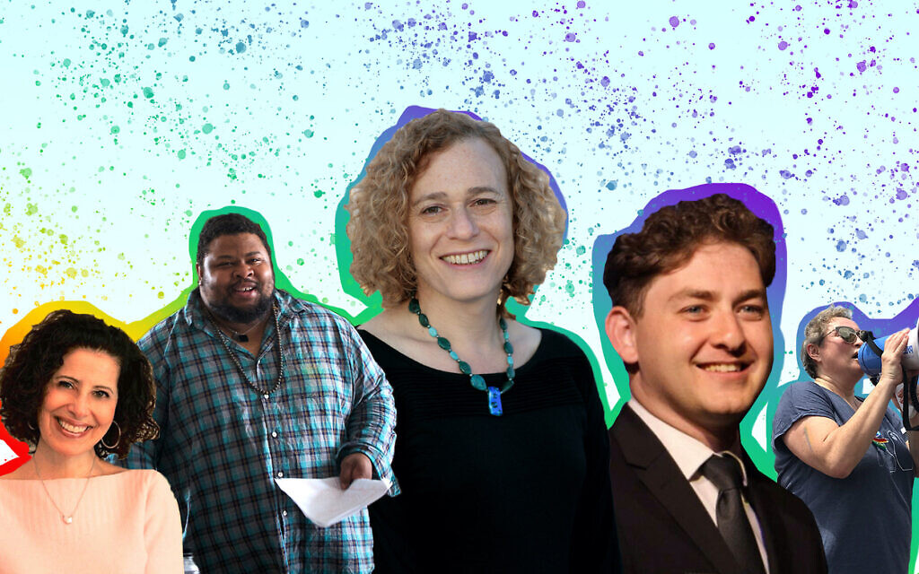 From left to right, Lesléa Newman, Michael Twitty, Joy Ladin, Daniel Atwood and Yelena Goltsman reflect on celebrating Pride in 2020. (Header image design by Grace Yagel/ via JTA)