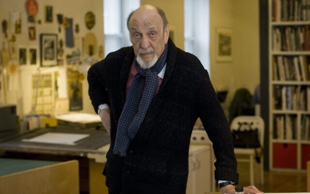 Graphic Designer Milton Glaser in his studio in New York City (Photo by Neville Elder/Corbis via Getty Images via JTA)