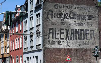Another structure protected the Alexander family's century-old mural in Gelsenkirchen, Germany. (Courtesy of Gelsenzentrum e.V. via JTA)