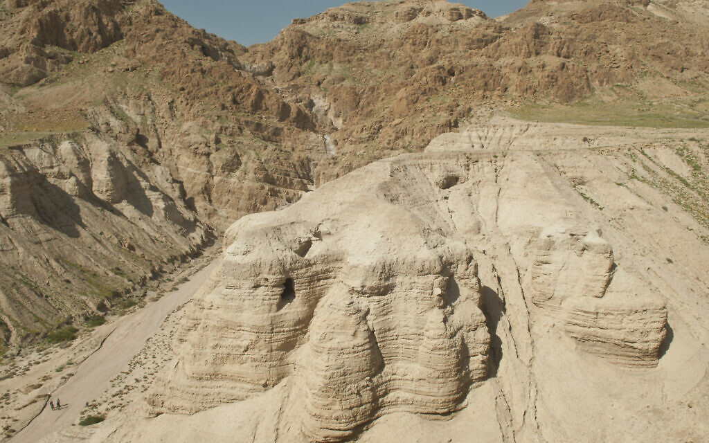 Cave 4, Qumran, on the shores of the Dead Sea. (Shai Halevi, Courtesy of the Israel Antiquities Authority)