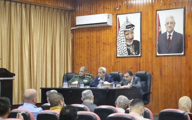 Members of the Higher Council for Emergencies, Qalqilya, discuss details of the new spike in cases in the governorate on June 2, 2020 (Qalqilya Governorate Facebook)