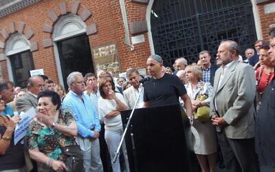 Rabbi Sergio Bergman at a Buenos Aires rally. (courtesy)
