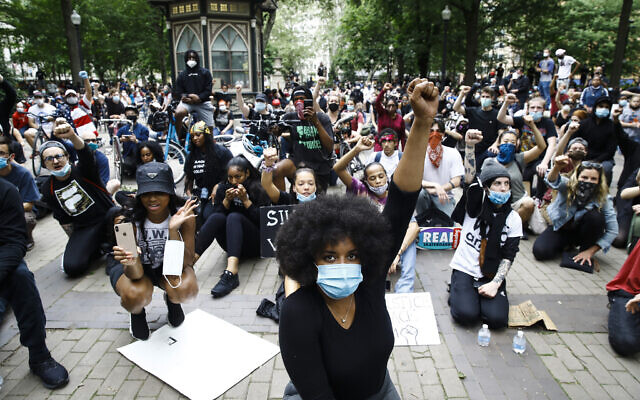 Demonstrators on June 2, 2020, at Rittenhouse Square in Philadelphia, during a protest over the death of George Floyd, who died May 25 after he was restrained by Minneapolis police. (AP Photo/Matt Rourke)