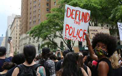 Protesters against racism and police brutality march, in New York, June 6, 2020. (AP/Ragan Clark)