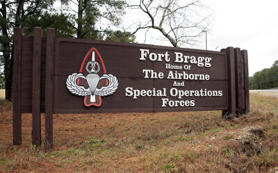 In this Jan. 4, 2020, file photo a sign for at Fort Bragg, N.C., is shown. (AP Photo/Chris Seward)