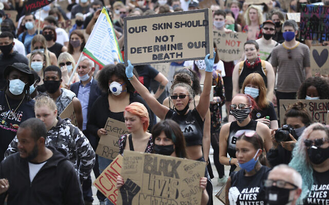 Protesters gather in Leeds, England, June 14, 2020, during a protest by Black Voices Matter. (Danny Lawson/PA via AP)