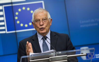 European Union foreign policy chief Josep Borrell speaks during a media conference after a meeting of EU foreign ministers by videoconference at the European Council building in Brussels on June 15, 2020. (AP Photo/Virginia Mayo, Pool)