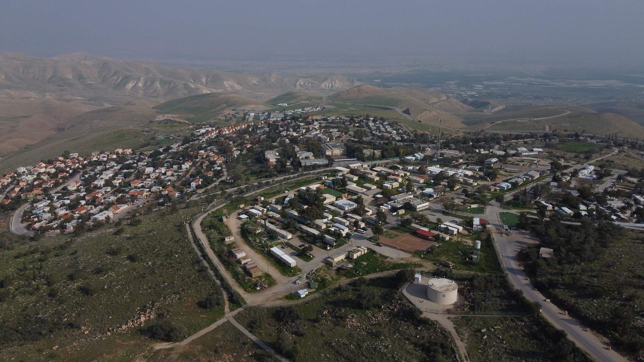 The West Bank settlement of Ma'ale Ephraim in the hills overlooking the Jordan Valley,  February 18, 2020. (AP Photo/Ariel Schalit)