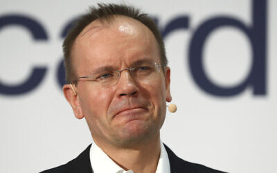 Markus Braun, former CEO of financial services company Wirecard. Prosecutors in Germany say he has been arrested in an accounting scandal that centers on a missing sum of 1.9 billion euros, or $2.1 billion. (AP Photo/Matthias Schrader, file)