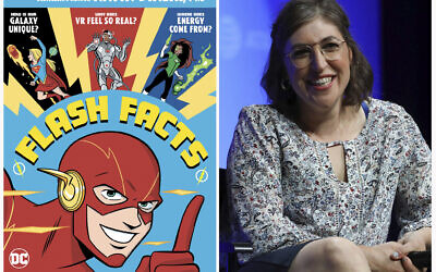 "A cover image released by DC Comics of ""Flash Facts"" by Mayim Bialik (left), and Mayim Bialik (right), as she speaks at AT&T's SHAPE: ""The Scully Effect is Real"" panel on June 22, 2019, in Burbank, California. (Derek Charm/DC Comics via AP, left, and AP Photo)"