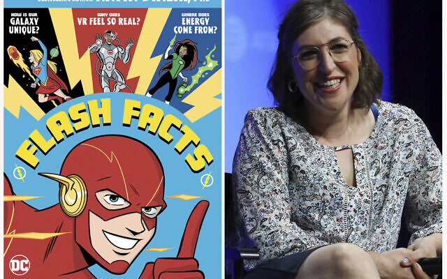 """A cover image released by DC Comics of """"Flash Facts"""" by Mayim Bialik (left), and Mayim Bialik (right), as she speaks at AT&T's SHAPE: """"The Scully Effect is Real"""" panel on June 22, 2019, in Burbank, California. (Derek Charm/DC Comics via AP, left, and AP Photo)"""