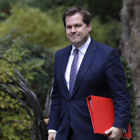 Britain's Secretary of State for Housing Robert Jenrick arrives for a Cabinet meeting at 10 Downing Street in London, October 16, 2019.  (Kirsty Wigglesworth/AP)