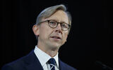 Brian Hook, US special representative for Iran, speaks at Joint Base Anacostia-Bolling in Washington, on November 29, 2018. (Carolyn Kaster/ AP)