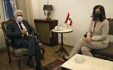 Lebanese Foreign Minister Nassif Hitti, left, meets with US Ambassador to Lebanon Dorothy Shea, in Beirut, Lebanon, June 29, 2020 (AP Photo/Hussein Malla)