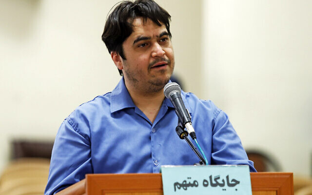 Journalist Ruhollah Zam speaks during his trial at the Revolutionary Court, in Tehran, Iran on June 2, 2020. (Ali Shirband/Mizan News Agency via AP)