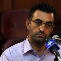 In this August 1, 2009, photo released by the semi-official Iranian Fars News Agency, Newsweek reporter Maziar Bahari attends a press conference after his trial in Tehran (AP Photo/Fars News Agency, Hossein Salehi Ara, file)