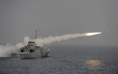 Illustrative: An Iranian warship fires a  missile, reported to be a Noor long-range anti-ship missile, in an exercise in the  southern waters of Iran, March 9, 2010. (AP Photo/IIPA, Ebrahim Norouzi)