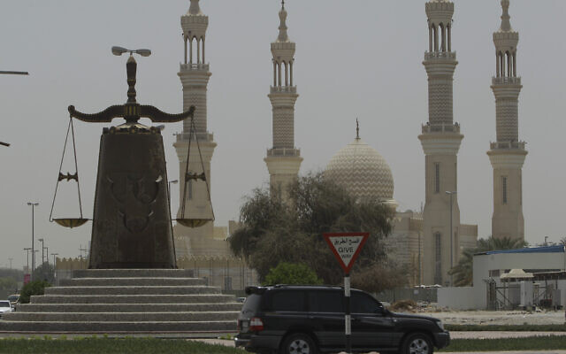 A justice symbol monument is seen in front of a mosque in Ras al Khaimah, United Arab Emirates, May 3, 2012. (Kamran Jebreili/AP)