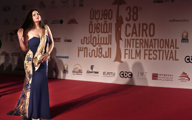 Egyptian actress, belly dancer, television personality Sama El-Masry poses on the red carpet during the opening of the 38th Cairo International Film Festival at the Opera House in Egypt, November 15, 2016. (Nariman El-Mofty/AP)