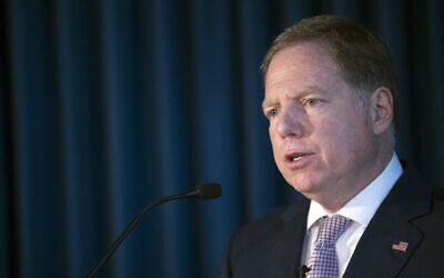 Geoffrey S. Berman, US Attorney for the Southern District of New York, speaks during a news conference, April 23, 2019, in New York (AP Photo/Mary Altaffer)