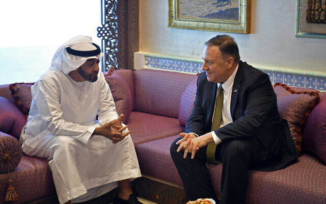 US Secretary of State Mike Pompeo (right) with Abu Dhabi Crown Prince Mohamed bin Zayed al-Nahyan in Abu Dhabi, United Arab Emirates, September 19, 2019. (Mandel Ngan/Pool via AP)