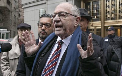 Attorney Alan Dershowitz talks to the press outside federal court in New York, on Monday, December 2, 2019 (AP Photo/Richard Drew)
