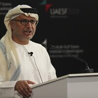 Anwar Gargash, the Emirati minister of state for foreign affairs, at the UAE Security Forum in Abu Dhabi, United Arab Emirates, December 12, 2019. (AP Photo/Kamran Jebreili)