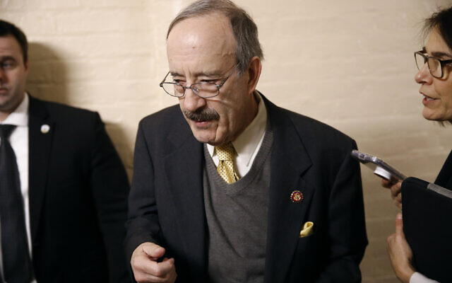 Chairman of the House Foreign Affairs Committee Eliot Engel, D-N.Y., arrives for a House Democratic Caucus meeting, Tuesday, Dec. 17, 2019, before a scheduled House Rules Committee hearing on the articles of impeachment against President Donald Trump on Capitol Hill in Washington. (AP Photo/Patrick Semansky)