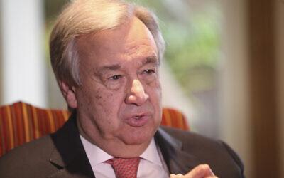 UN Secretary General Antonio Guterres speaks to The Associated Press in Lahore, Pakistan, Tuesday, Feb. 18, 2020.  (AP Photo/K.M. Chaudhry)