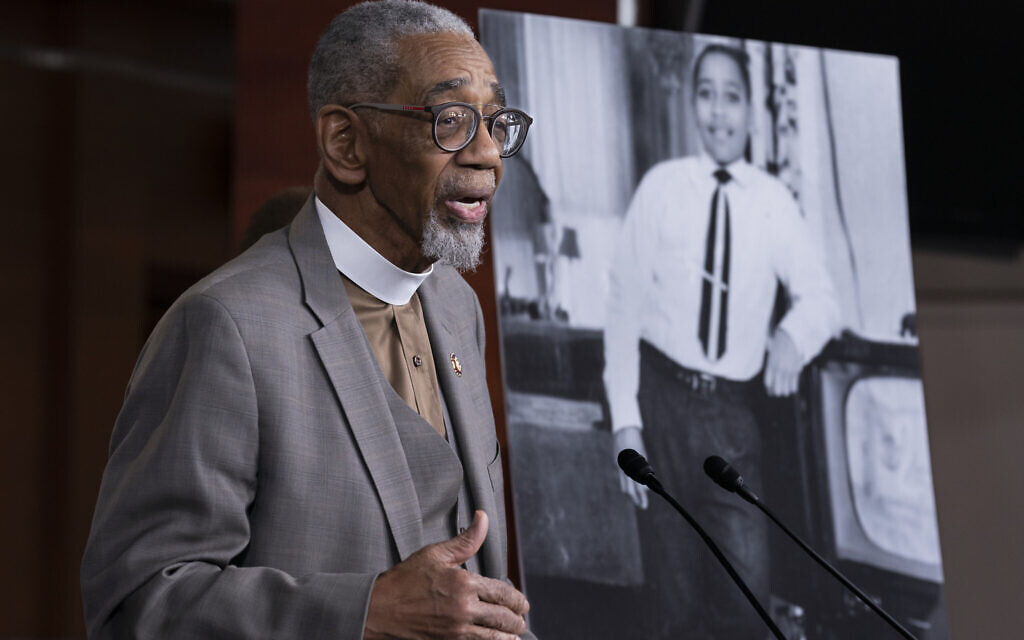 Rep. Bobby Rush, D-Ill., speaks during a news conference about the 'Emmett Till Antilynching Act' which would designate lynching as a hate crime under federal law, on Capitol Hill in Washington, Wednesday, February 26, 2020. (AP Photo/J. Scott Applewhite)