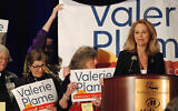 Congressional candidate and former CIA operative Valerie Plame seeks support from local party delegates at the Democratic Party preprimary convention in Pojoaque, N.M., March 7, 2020. (AP Photo/Morgan Lee)