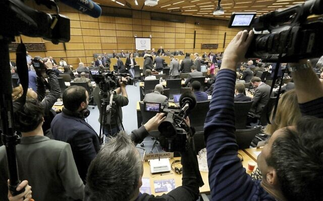 The board of governors meeting of the International Atomic Energy Agency, IAEA, at the International Center in Vienna, Austria, March 9, 2020. (AP/Ronald Zak)