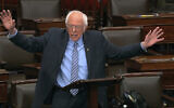 In this image from video, Sen. Bernie Sanders speaks on the Senate floor at the US Capitol in Washington, on March 25, 2020. (Senate Television via AP)