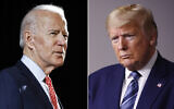 In this combination of file photos, former US vice president Joe Biden speaks in Wilmington, Delaware, on March 12, 2020, left, and President Donald Trump speaks at the White House in Washington on April 5, 2020. (AP Photo, File)
