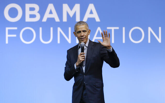 Former US President Barack Obama speaking at the Gathering of Rising Leaders in the Asia Pacific, organized by the Obama Foundation in Kuala Lumpur, Malaysia, December 13, 2019. (Vincent Thian/AP)