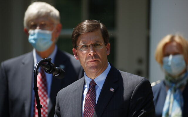 Defense Secretary Mark Esper speaks during a press briefing about the coronavirus in the Rose Garden of the White House on May 15, 2020, in Washington. (AP Photo/Alex Brandon)