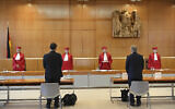 An illustrative photo of Germany's Federal Constitutional Court in Karlsruhe, Germany, May 19, 2020. (Uli Deck/dpa via AP)