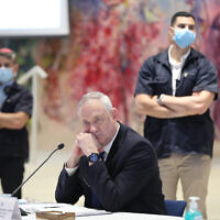 Defense Minister Benny Gantz attends the first cabinet meeting of the new government at the Chagall Hall in the Knesset in Jerusalem, May 24, 2020. (Abir Sultan/Pool Photo via AP)