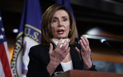 House Speaker Nancy Pelosi of Calif., speaks during a news conference on Capitol Hill in Washington, Thursday, May 28, 2020. (AP Photo/Carolyn Kaster)