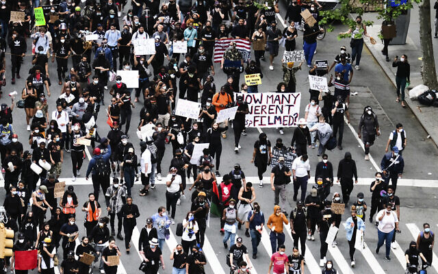 Illustrative: Overhead view of an anti-police brutality Black Lives Matter protest rally on Third Avenue on June 2, 2020, in New York. (Photo by Evan Agostini/Invision/AP)