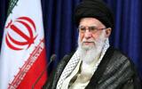 Iranian Supreme Leader Ayatollah Ali Khamenei addresses the nation in a televised speech marking the anniversary of the 1989 death of Ayatollah Ruhollah Khomeini, the leader of the 1979 Islamic Revolution, in Tehran, Iran, June 3, 2020. (Office of the Iranian Supreme Leader via AP)