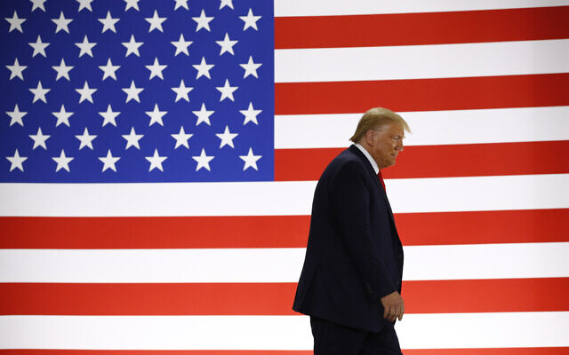 US President Donald Trump arrives to speak during a tour of a medical swab manufacturing facility in Maine, on June 5, 2020. (Patrick Semansky/AP)