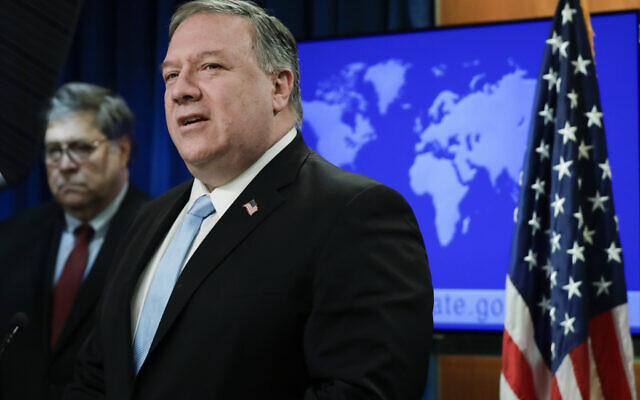 US Secretary of State Mike Pompeo (right) at the State Department on June 11, 2020 (Yuri Gripas/Pool via AP)