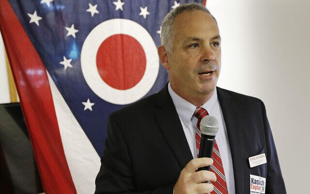Republican Sen. Steve Huffman speaks during a rally at Darke County GOP headquarters in Greenville, Ohio, on October 13, 2014. (AP/Al Behrman)