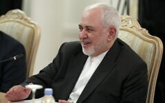 Iran's Foreign Minister Mohammad Javad Zarif during talks in Moscow, Russia, June 16, 2020. (Russian Foreign Ministry Press Service via AP)
