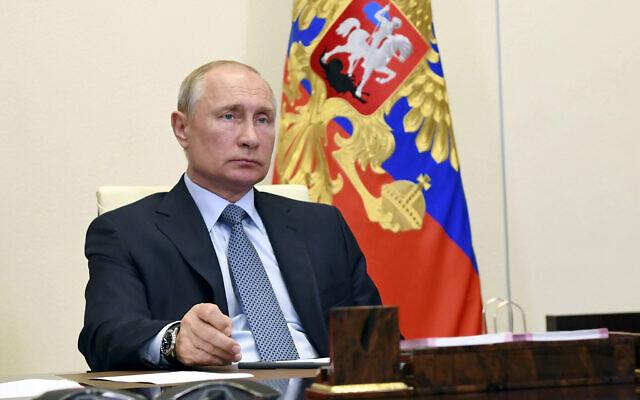Russian President Vladimir Putin at the Novo-Ogaryovo residence outside Moscow, Russia, on June 19, 2020 (Alexei Nikolsky, Sputnik, Kremlin Pool Photo via AP)