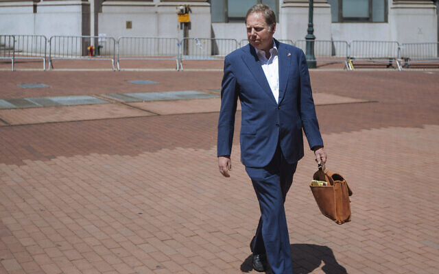 Geoffrey S. Berman, then United States attorney for the Southern District of New York, arrives at his office in New York, June 20, 2020.  (Kevin Hagen/AP)