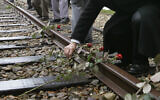 Roses are symbolically placed on the railroad tracks at former concentration camp Westerbork, the Netherlands, remembering more than a hundred thousand Jews transported from Westerbork to Nazi death camps during WWII, on May 9, 2015. (Peter Dejong/AP)