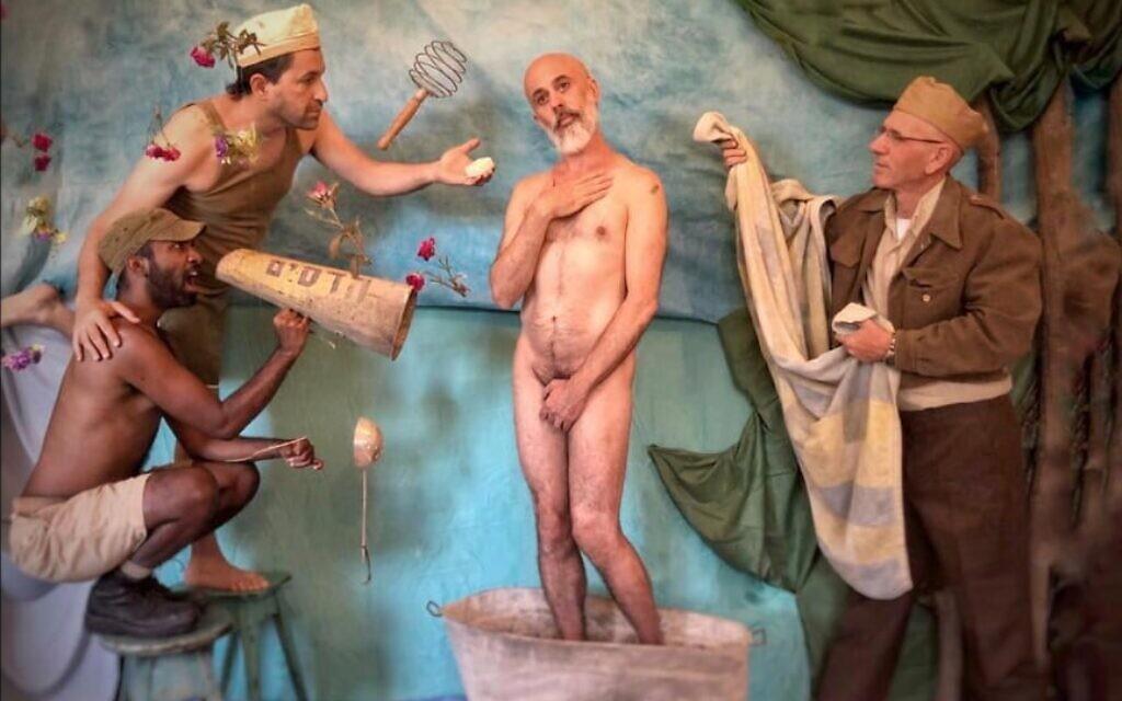Beersheba-based musician and artist Aleksander Fisz, center, reenacting Botticelli's 'The Birth of Venus.' (Courtesy)