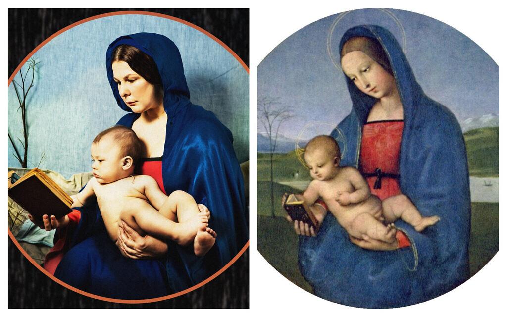 Julia Ohotnikova, left, reenacting  Raphael's Conestabile Madonna, right. (Courtesy/ Public domain)
